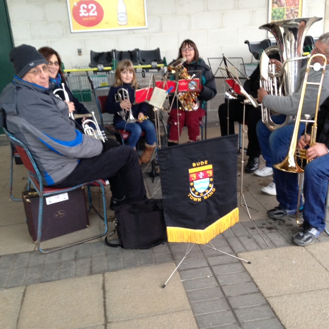 The band carol playing outside Morrisons in Bude